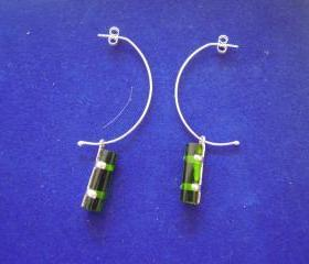 Green Sterling Silver Handmade Earrings