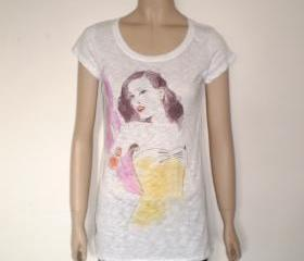 Burlesque girl BURN OUT t shirt - white tee yello corset and purple feather