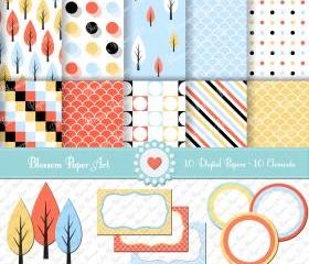 Pine - Clipart - Digital Paper - Light Blue - Yellow - Peach - Printables - 300 dpi - 1347