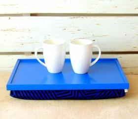 Laptop Lap Desk or Breakfast serving Tray - Bright Blue with Indigo Blue Striped fabric