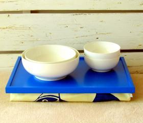 Laptop Lap Desk or Breakfast serving Tray - bright Blue with Indigo Blue Fish print on Creme Fabric
