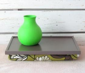  Breakfast serving or Laptop Lap Desk- Greyish Brown with Floral Pillow of Green and Browns