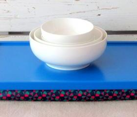 Laptop Lap Desk or Breakfast serving Tray - Bright Blue with Navy, Fuchsia and Mint-Custom Order