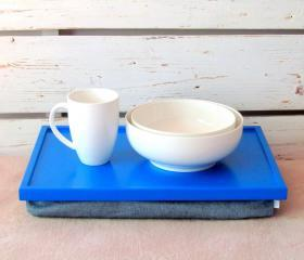  Laptop Lap Desk or Breakfast serving Tray - Bright Blue with Denim Fabric