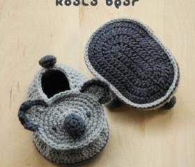 Koala Bear Baby Booties Crochet PATTERN, SYMBOL DIAGRAM (pdf)