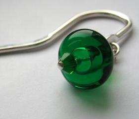 Green beaded bookmark, hollow glass lampwork bead
