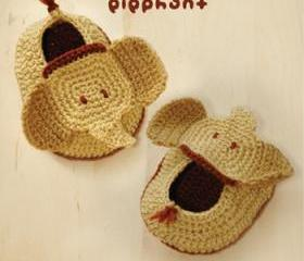 Elephant Baby Booties Crochet PATTERN, SYMBOL DIAGRAM (pdf)