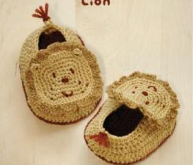 Lion Baby Booties Crochet PATTERN, SYMBOL DIAGRAM (pdf)
