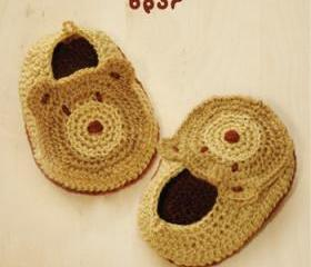 Bear Baby Booties Crochet PATTERN, SYMBOL DIAGRAM (pdf)
