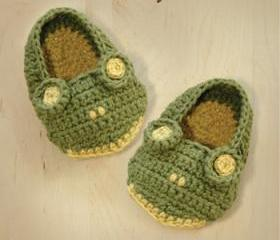 Frog Baby Booties Crochet PATTERN, SYMBOL DIAGRAM (pdf)