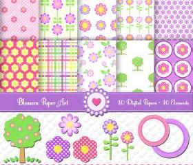 Flowers Clipart - Digital Scrapbooking Paper - Printables - 300dpi - 1341