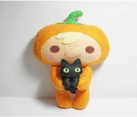 Halloween Pumpkin Kid and Black Cat - doll pattern, felt doll, PDF