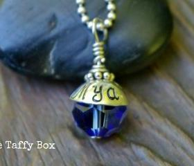 Hand Stamped Birthstone Bead Necklace