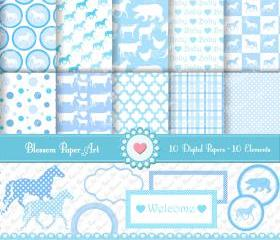 Digital Scrapbooking - Light Blue Animals - Baby Showers - 10 Clipart - 10 Digital Papers - Printables - 300dpi - 1340