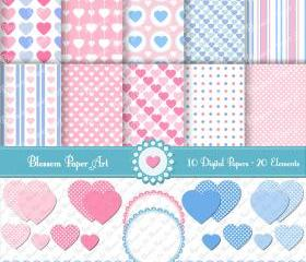 Hearts Scrapbooking Pack Clipart - 10 Digital Papers - 20 Elements - 300dpi - 1339