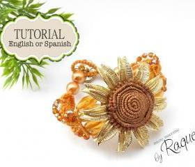 Micro Macrame Pattern Bracelet &quot;Sunflower&quot; 