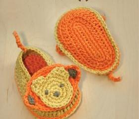 Monkey Baby Booties Crochet PATTERN, SYMBOL DIAGRAM (pdf)