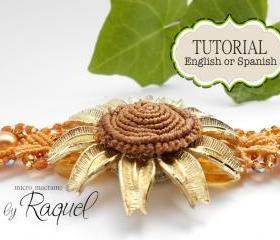 ESQUEMA en ESPAOL Micro Macrame 'Pulsera Girasol Radiante'