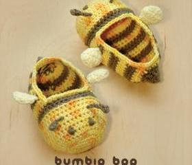 Bumble Bee Baby Booties Crochet PATTERN, SYMBOL DIAGRAM (pdf)