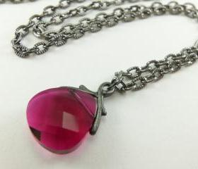 Ruby Red Crystal Necklace July Birthstone Dark Silver Jewelry Briolette Necklace