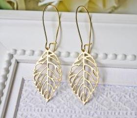 Matte Gold Leaf Earrings. Delicate. Modern. Bohemian. Autumn Leaves
