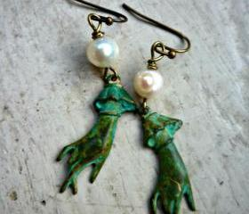 Verdigris Patina Hand Charms & white pearls. seawater pearls, brass ear wires. victorian, edwardian, steampunk, shabby chic.