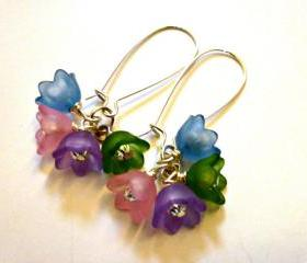 Bell Frosted flowers.Spring & summer jewelry. Flowers and silver Earrings. Pastel colors blue, pink, purple, green.