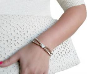 Swarovski Pearl Bracelet - Pave Bead - Audrey Bracelet