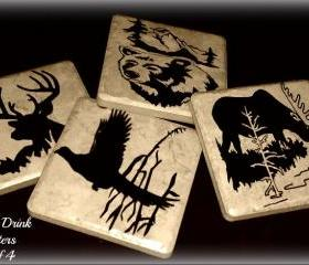 Set of 4 Wildlife Ceramic Drink Coasters