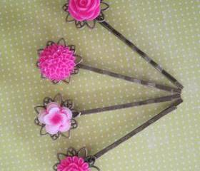 Pretty in Pink Hair Bobby Pins
