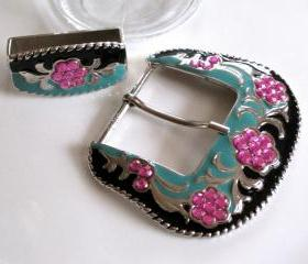 Vintage Belt Buckle Set - Black Aruba Blue