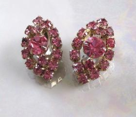 Vintage Pink Marquise Rhinestone Clip Earrings