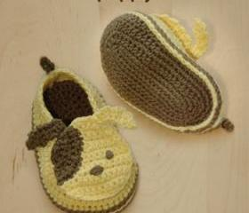 Puppy Baby Booties Crochet PATTERN, SYMBOL DIAGRAM (pdf)