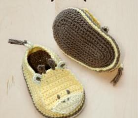 Giraffe Baby Booties Crochet PATTERN, SYMBOL DIAGRAM (pdf)