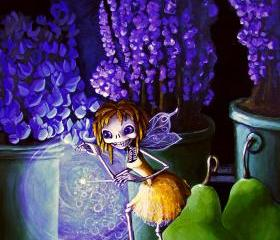 Skeleton Giclee Art Print- Tiny Fairy At Night in the Potting Shed - Calavera Day of the Dead Poster