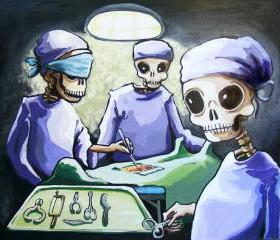 Skeleton Doctors in Surgery - modern medicine - macabre lowbrow day of the dead art print