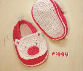 Piggy Baby Booties Crochet PATTERN, SYMBOL DIAGRAM (pdf)