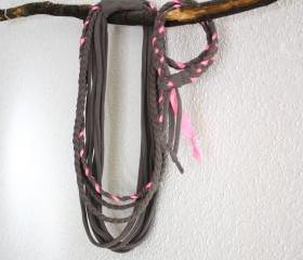 Recycled T-shirt braided necklace. Grey, neon pink. Handmade.