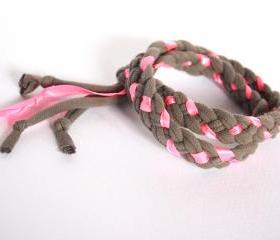Recycled T-shirt braided adjustable bracelet. Grey, neon pink. Handmade.