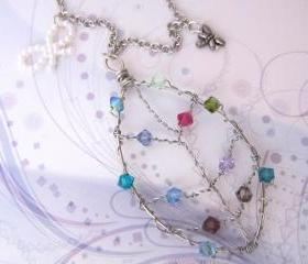  Silver Wire Leaf of Colors Necklace (Nature-Inspired)