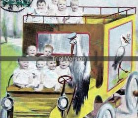 .A cargo of modern babies - 300 dpi authentic vintage French image