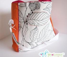 The Cool Big Bag - White Leafs with Orange
