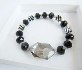 Beaded Bracelet - Crystal Beaded Bracelet - Checkmate