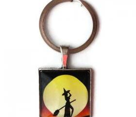 Sexy Witch Black Orange Red Silhouette Moon Halloween 1 inch Glass Keychain Zipper Pull