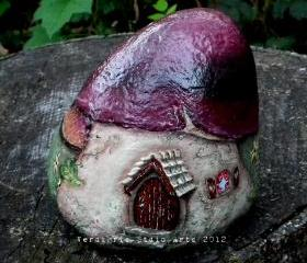 Hand Painted Rock Mushroom Fairy Gnome House
