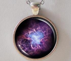 Nebula Necklace - Purple Crab Nebula Image Necklace - Galaxy Series