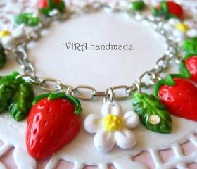 Cute strawberry with leafs and flowers charm bracelet