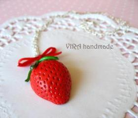 Kawaii cute strawberry bowknot necklace