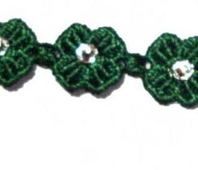 Swarovski Green Clover Lucky Friendship macrame Bracelet with clasp closure