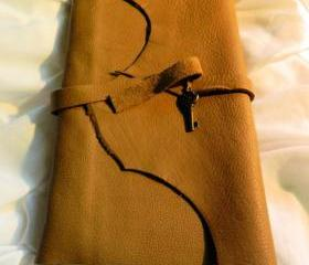 Handmade Leather Bound Journal with Skeleton Key Charm